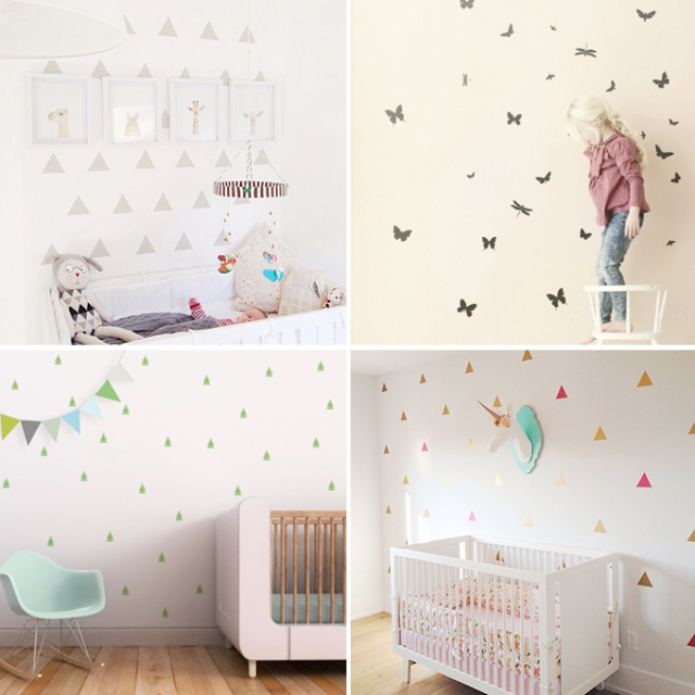 Babykamer behang prints - Paars behang en grijze ...