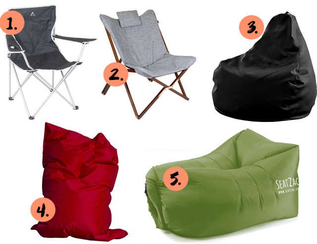 collage met campingstoelen