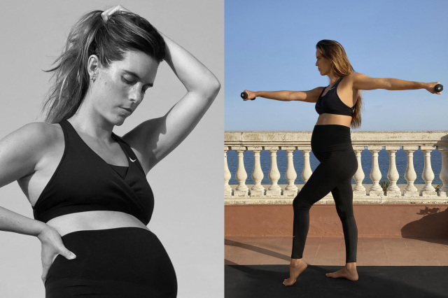 Zwangere vrouw in Nike Maternity Collection