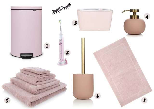 Badkamer Accessoires Goud : Roze badkamer accessoires u devolonter