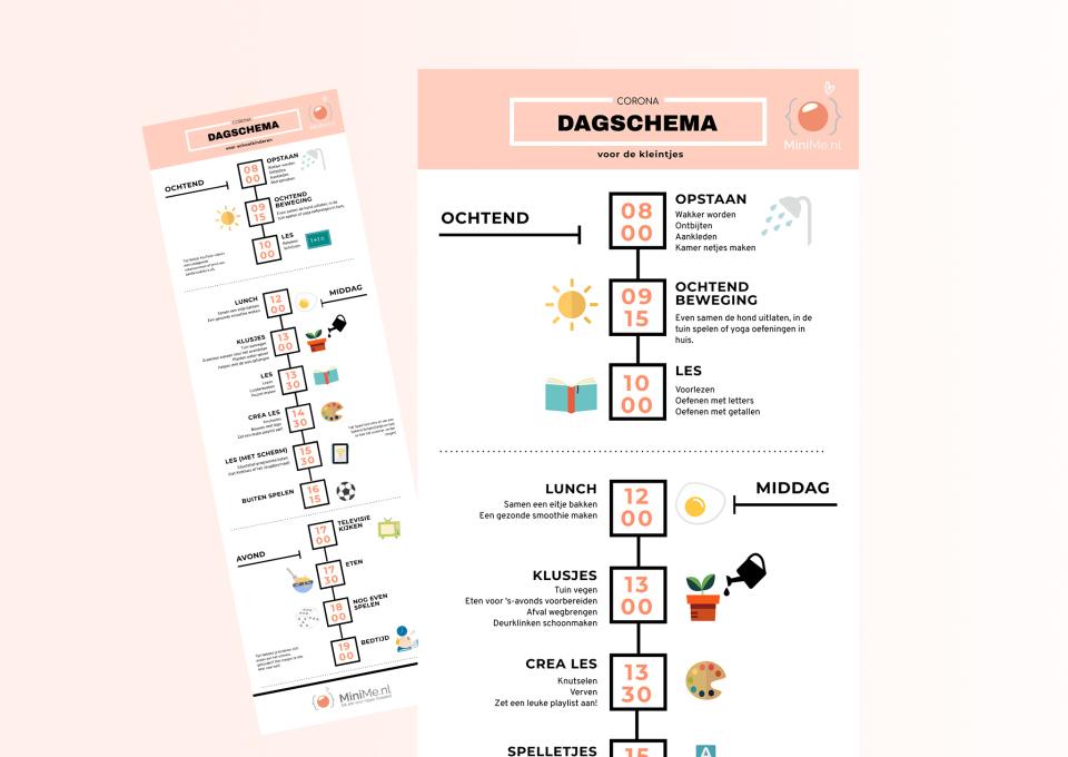 Dagschema kinderen tijdens corona-maatregelen | Download het voorbeeldschema