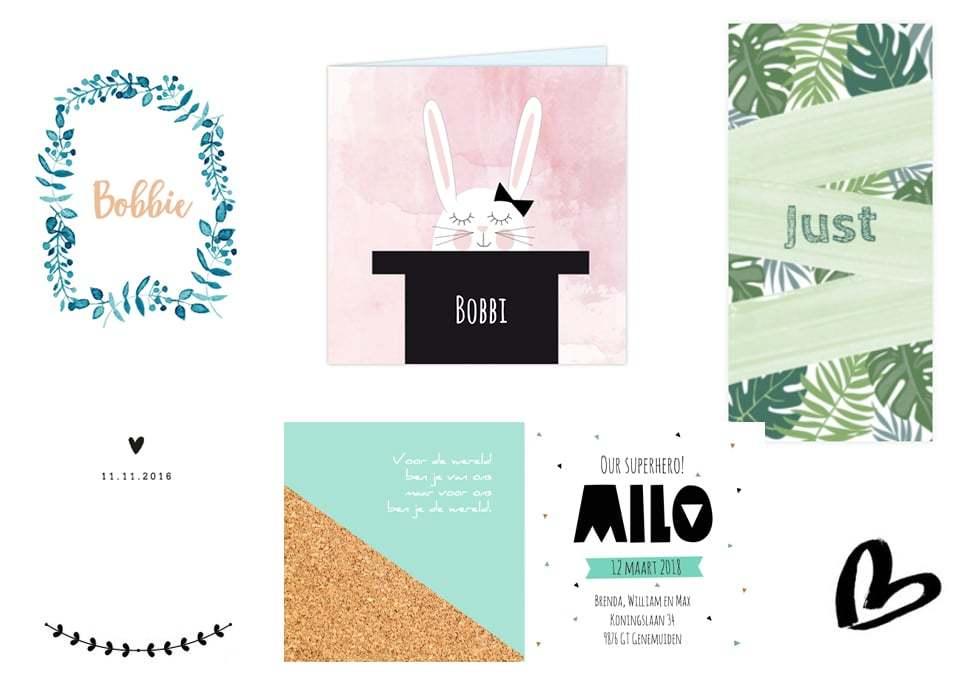 16 mooie geboortekaartjes voor jongens en meisjes