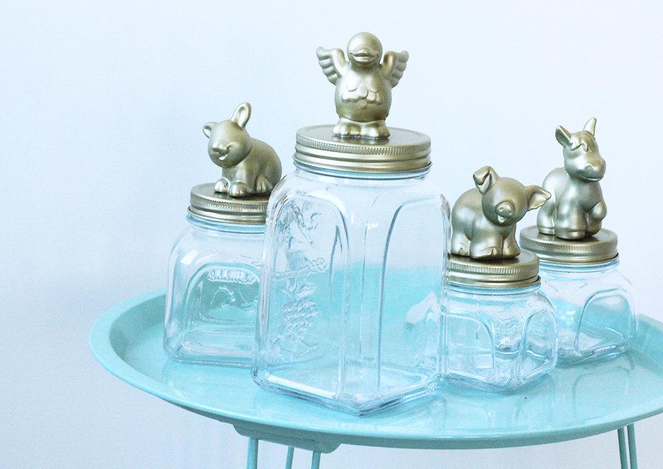DIY potten met goudspray boerderijdieren