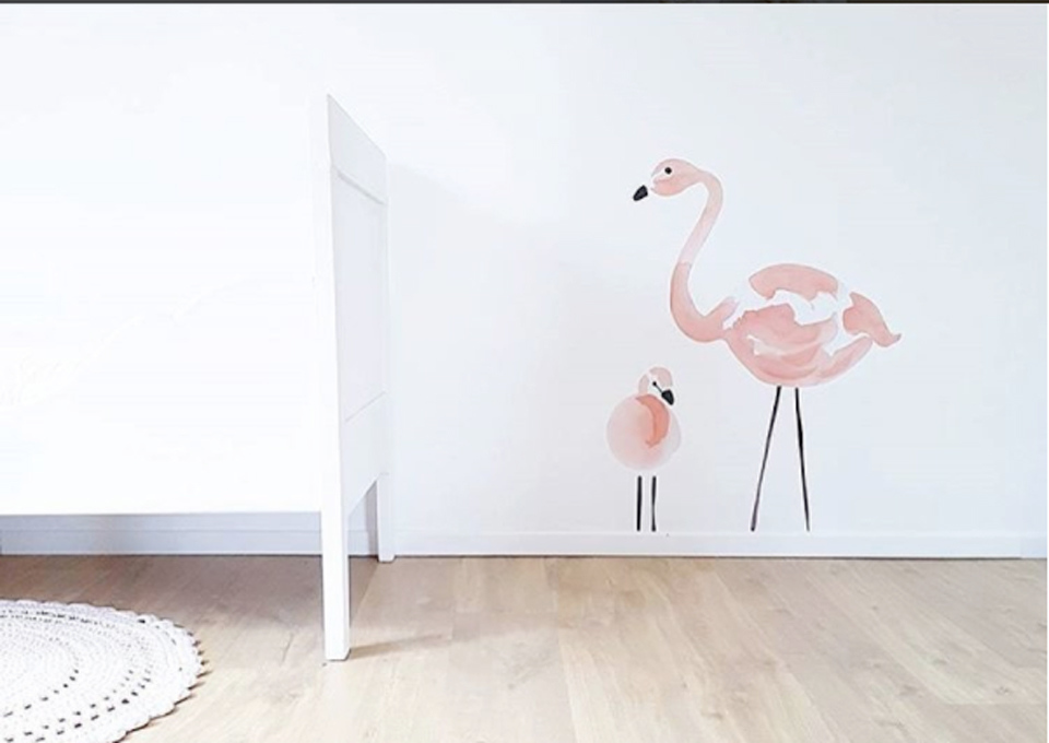 Kinderkamer Kinderkamer Thema : Babykamer flamingo thema minime