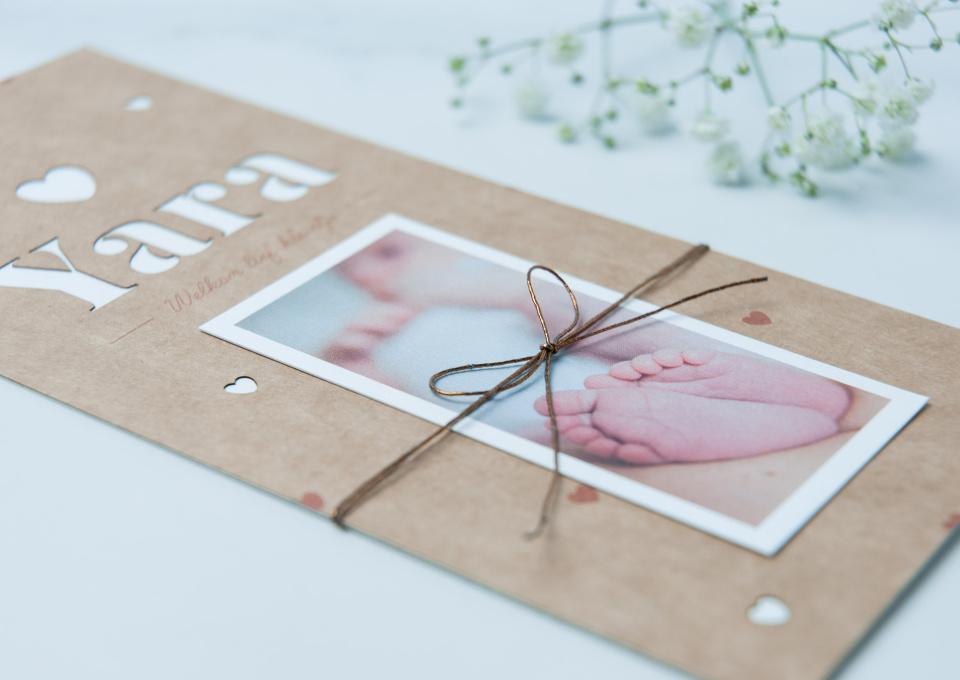 Geboortekaartjes op karton - uniek!